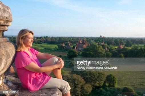 Tourist in Bagan Burma (Myanmar) on Temple. : Stock Photo
