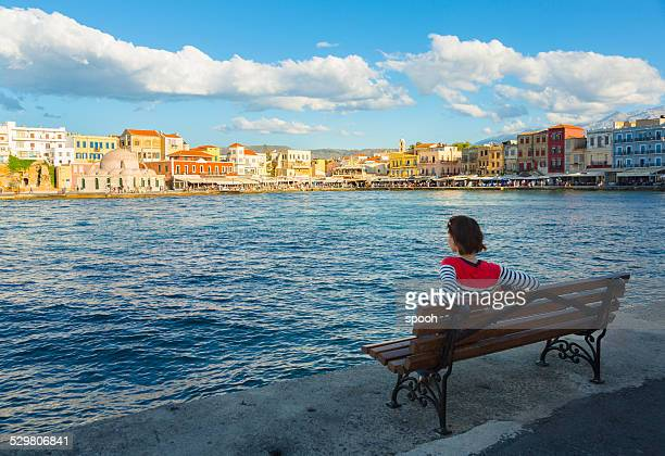 Tourist in Chania, Crete, Greece.