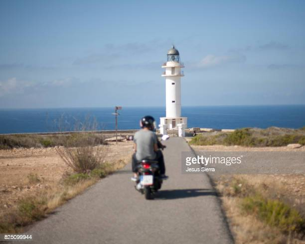 Tourist in scooter, The Barbaria lighthouse