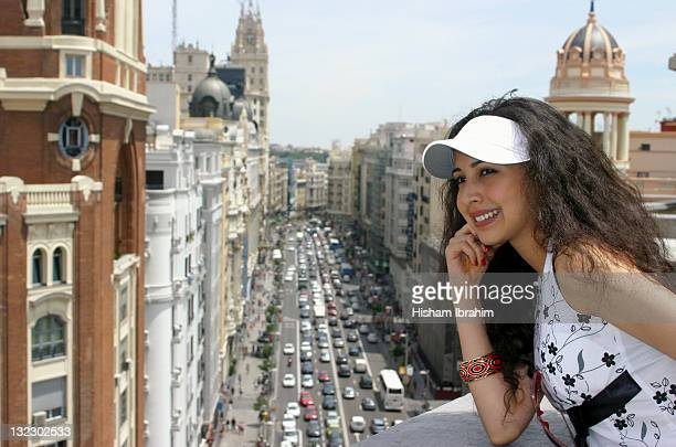 Tourist looking over Gran Via, Madrid, Spain
