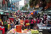 Tourist market on Jalan Hang Lekir in Chinatown.