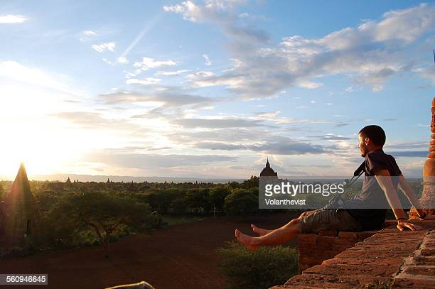 Tourist observing pagodas and temples at Bagan