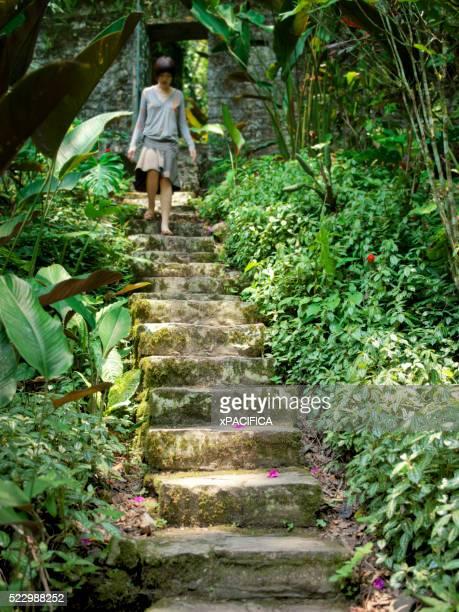 Tourist on Stone Steps at Xilitla