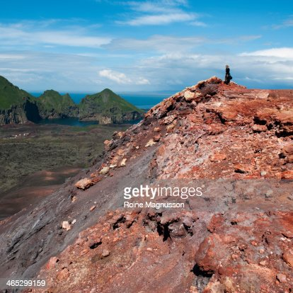 Tourist on volcano