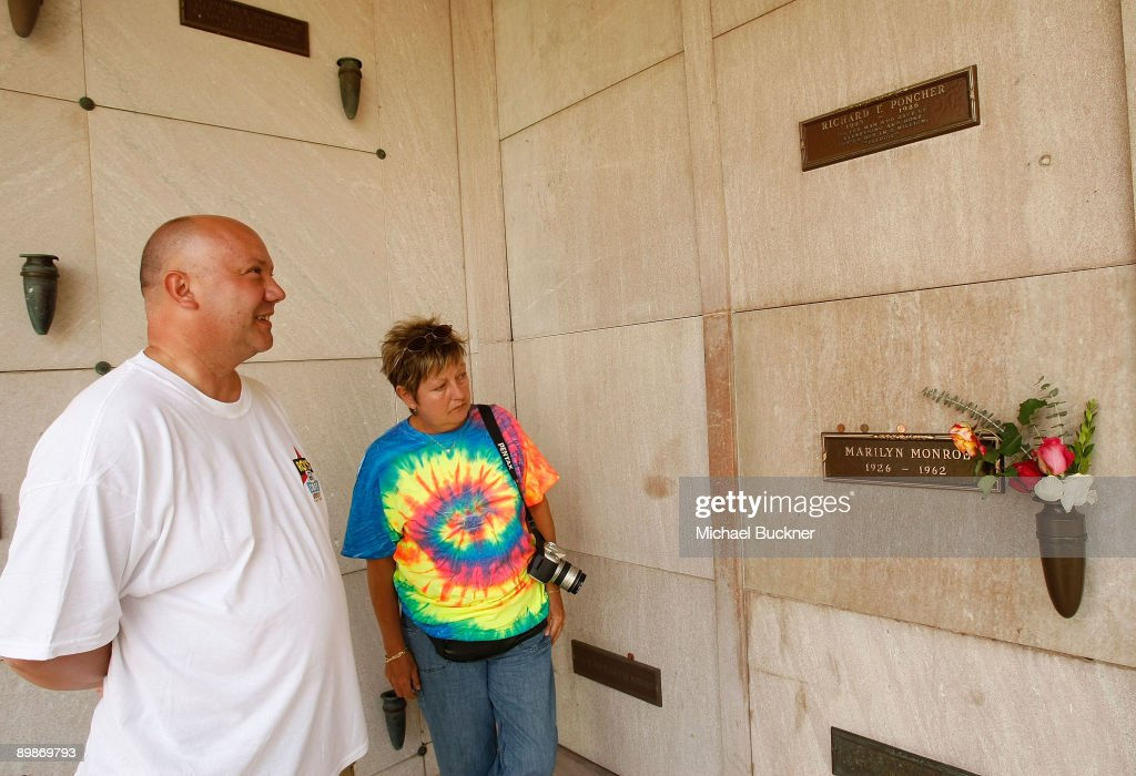 Tourist Patrick Marchal and wife Yveline Marchal of Paris France visit the crypt of famed actress Marilyn Monroe in the Corridor of Memories...