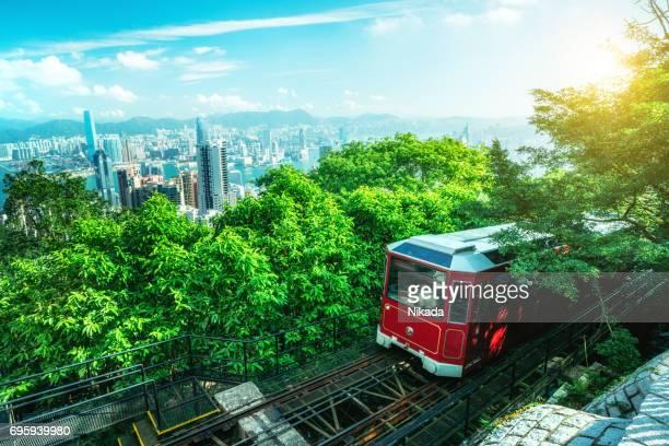 Tourist Peak Tram in Hongkong
