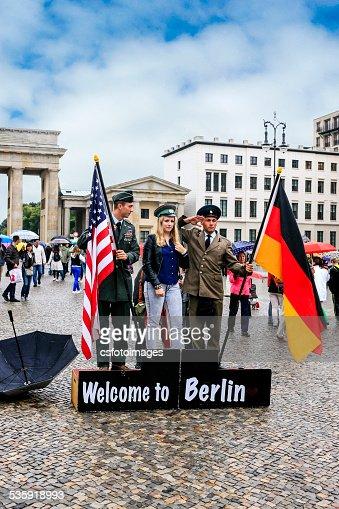 Tourist Photo Cold War Souvenir stand in Berlin : Stock Photo
