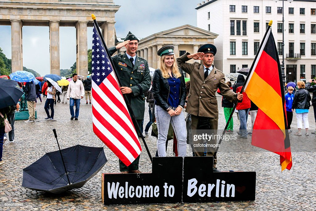 Tourist Photo Cold War Souvenir stand in Berlin : Stock Photo