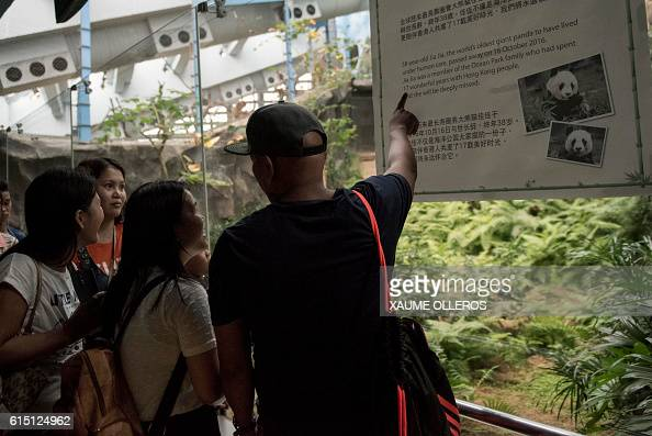 A tourist points to a notice informing visitors of the death of Giant Panda Jia Jia the world's oldest captive giant panda that died aged 38 on...