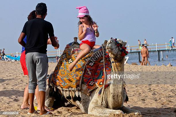 A tourist poses on a camel at the beach in the Egyptian Red Sea resort of Sharm elSheikh on November 3 2015 Investigators began examining the two...