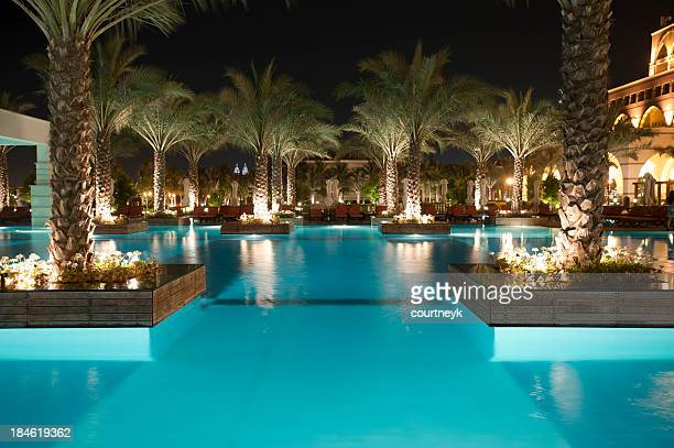 Tourist resort pool at night