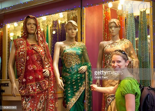 Tourist shopping for a sari in New Delhi
