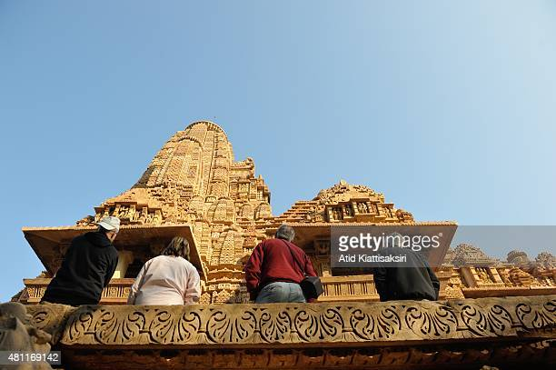 Tourist sightseeing the Kandariya Mahadeva Temple the part of UNESCO World Heritage Sites of Khajuraho group of monuments