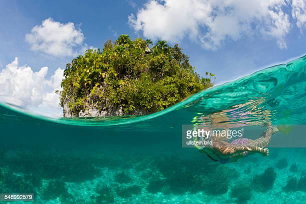 Tourist snorkeling at Palau Micronesia Palau