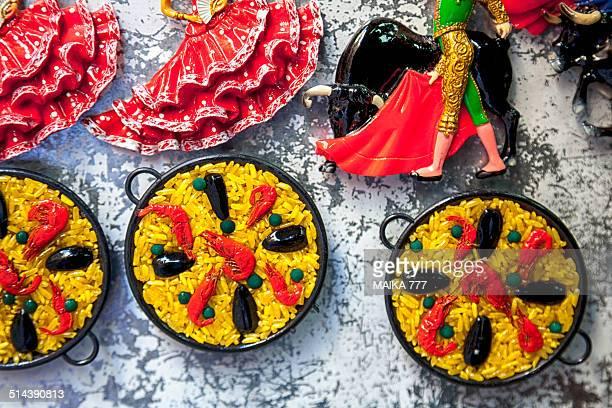 Tourist souvenir fridge magnets Paella, Flamenco