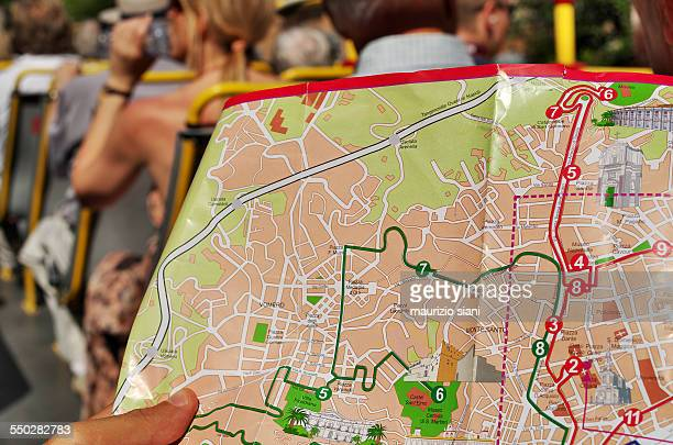 tourist studying city map