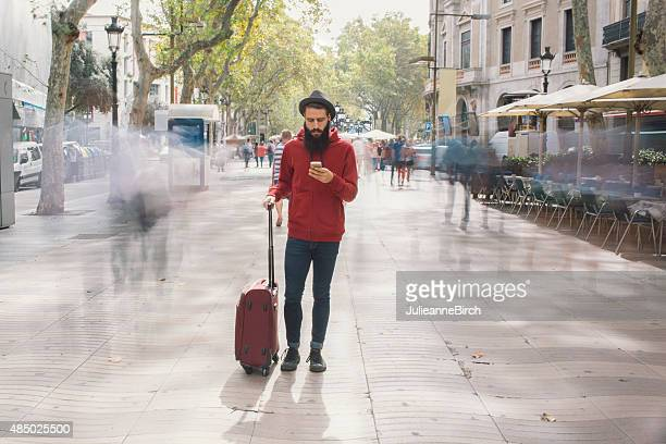Tourist, suitcase, mobile, travel