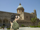 Tourist taking a picture, Palermo Cathedral, Sicily, Italy