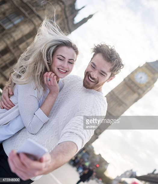 Tourist taking a selfie in London