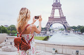 tourist taking photo of Eiffel tower in Paris with compact camera or smartphone, travel in Europe