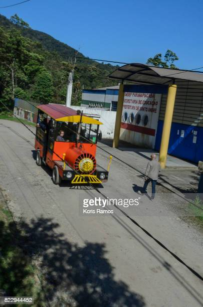 Tourist train traveling through the streets of the village of paranapiacaba in são paulo in brazil