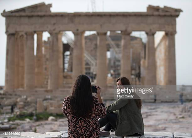 Tourist visit the Acropolis ahead of Greek's general election on January 22 2015 in Athens Greece According to the latest opinion polls the leftwing...