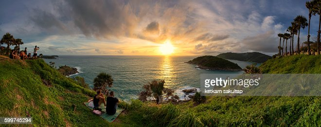 Tourist Watching Sunset At Cape Promthep Phuket Stock ...
