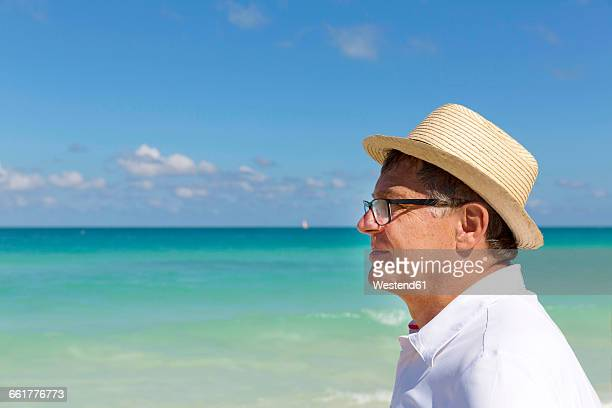Tourist with straw hat in front of the sea