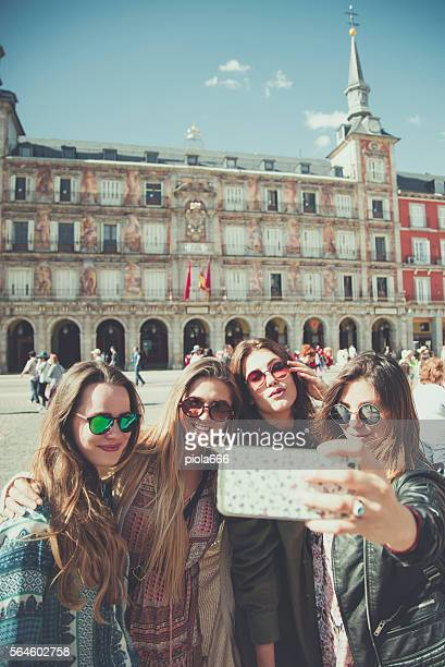 Tourist woman selfie in Plaza Major, Madrid