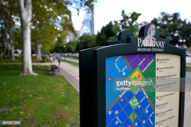 Touristic information is found alongside the Parkway as the Parkway100 centennial celebration kicks off at the Benjamin Franklin Parkway in...