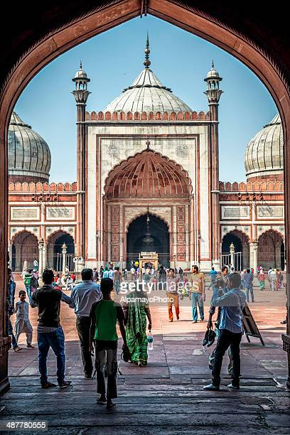 Tourists admirer sites of Jama Masjid in Old Delhi