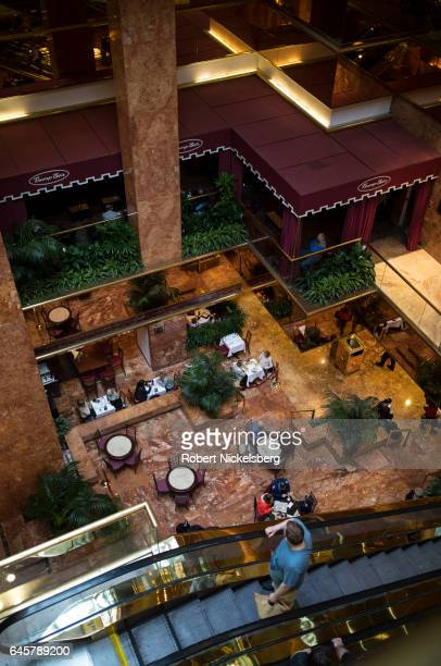 Tourists and curiosity seekers visit Trump Tower along Fifth Avenue February 25 2017 in New York City The 58story luxury condominium building has...