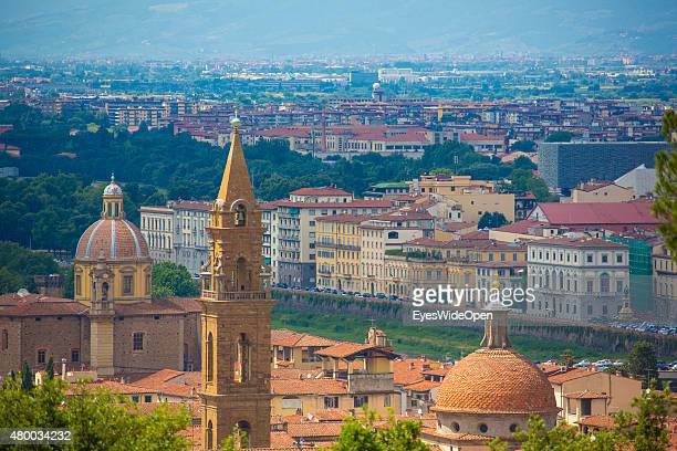 Tourists and traveler visit the sightseeing point Fort Belvedere with a panoramic view on June 16 2015 in Florence Italy