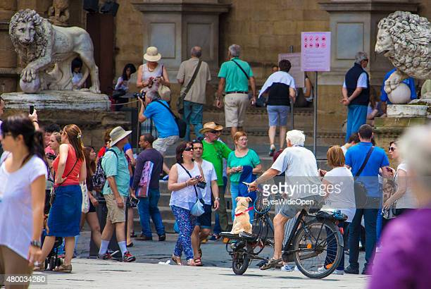Tourists and traveler visit the sightseeing point Piazza di Basilica Santa Maria Novella on June 16 2015 in Florence Italy