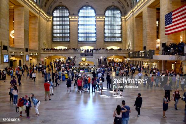 Tourists and travelers fill the Main Concourse of Grand Central Terminal in New York New York The Midtown Manhattan landmark is a commuter rapid...