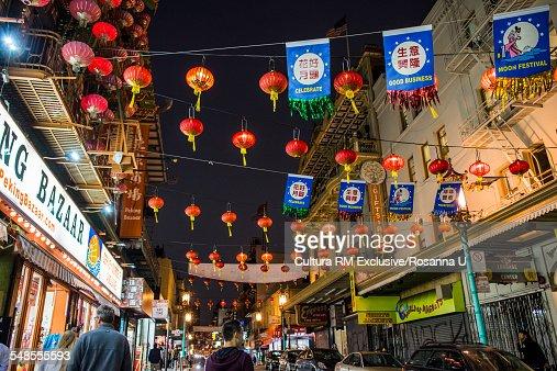 Tourists at chinatowns mid autumn festival at night, San Francisco, California, USA