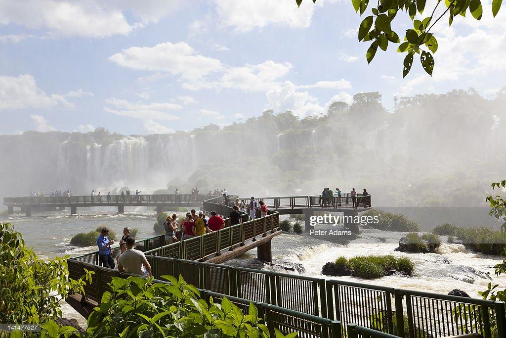 Tourists at Iguacu (Iguazu) Falls, Brazil : Stock Photo