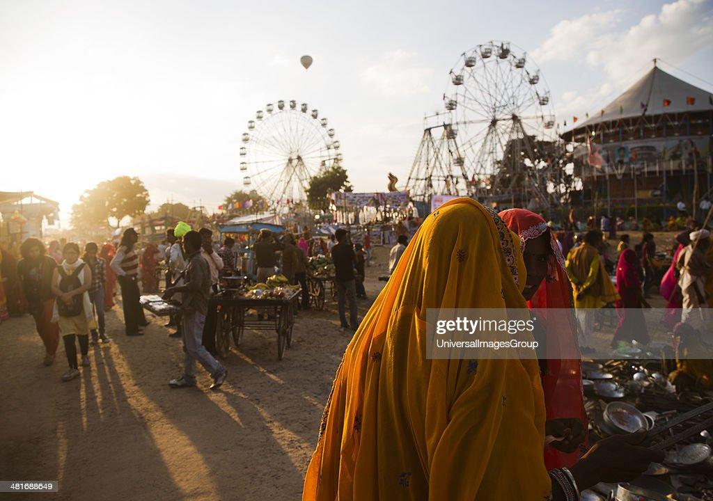 Tourists at Pushkar Camel Fair Pushkar Ajmer Rajasthan India