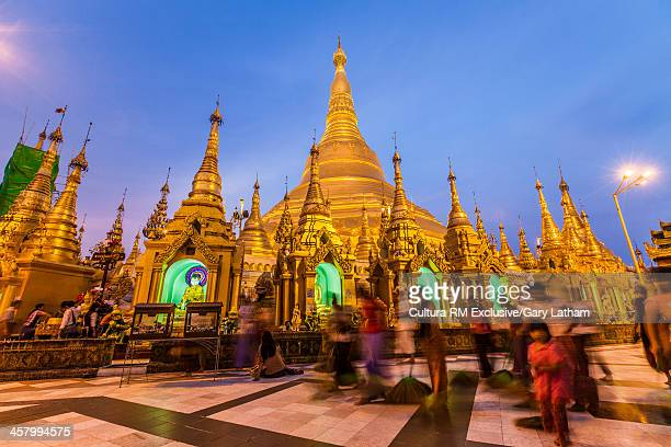 Tourists at Shwedagon Pagoda, Yangon, Burma