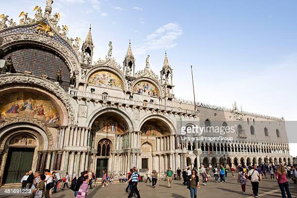 Tourists at St Mark's Basilica Venice Veneto Italy