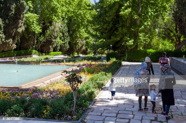 Tourists at the historical Shahzadeh Garden known as Prince's Garden in Mahan Iran The original garden was built around 1850's It is a UNESCO World...