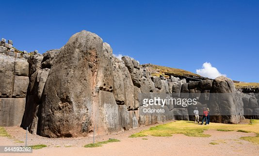 Tourists at the Incan archaelogical site of Saqsaywaman, Cusco, Peru : Stock Photo