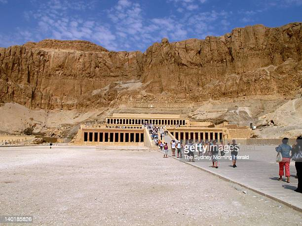 Tourists at the Temple of Hatshepsut on bank of the River Nile opposite the city of Luxor in Egypt