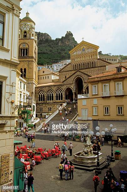 Tourists at town square, Amalfi, Italy