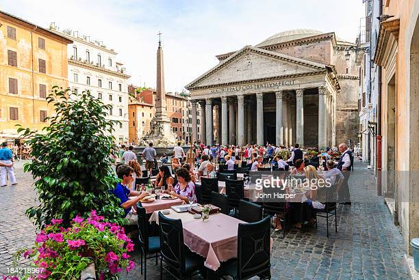Tourists dining at The Pantheon, Rome, Italy