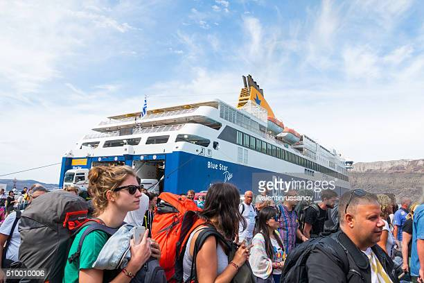 Tourists disembarking from ferryboat, Santorini, Greece