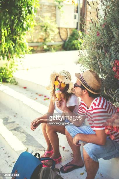Tourists eating ice cream