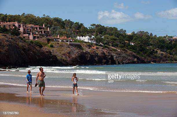 Tourists enjoy Portezuelo beach next to Punta del Este one of the most exclusive seaside resorts of Latin America 140 km east from Montevideo on...