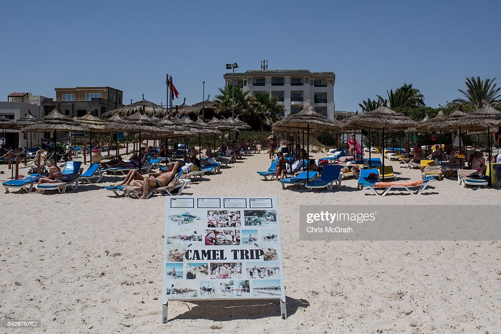 Tourists enjoy the beach on June 25, 2016 in Sousse, Tunisia. Before the 2011 revolution, tourism in Tunisia accounted for approximately 7% of the countries GDP. The two 2015 terrorist attacks at the Bardo Museum and Sousse Beach saw tourism numbers plummet even further forcing hotels to close and many tourism and hospitality workers to lose their jobs. The 26th of June marks the first anniversary of the Sousse beach attacks.