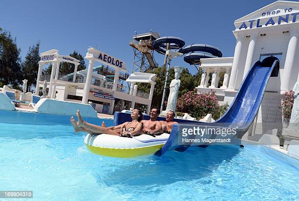Tourists enjoy the Waterworld in Ayia Napa on May 25 2013 in Ayia Napya Cyprus Waterworld themed waterpark is Europe's largest themed waterparkÊ